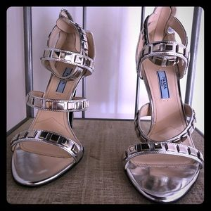 Silver High Heeled Sandals